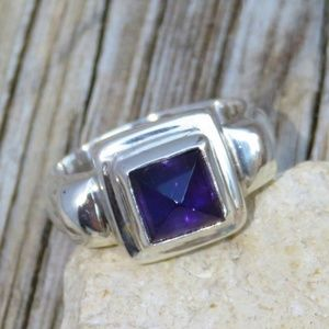 Vintage Sterling Silver Natural Amethyst Ring